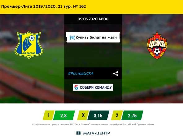 РОСТОВ - ЦСКА 9-03-2020 прогноз матча