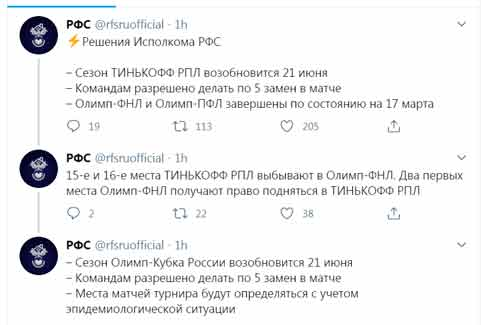 Российская премьер-лига по футболу возобновит матчи 21 июня 2020