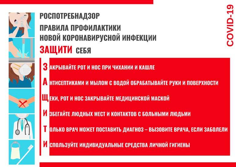 Плакат по профилактике распространения коронавируса Управления Роспотребнадзора по Ростовской области