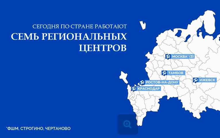 Карта Региональных центров Российского футбольного союза 2020